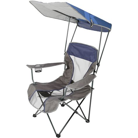 folding chair with shade portable cing folding lawn chair w canopy navy outdoor