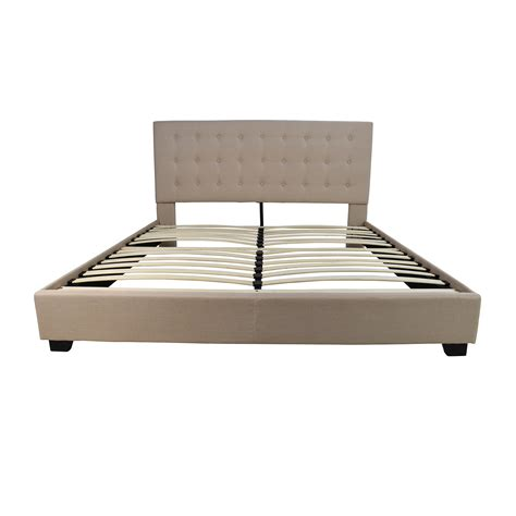 44% OFF   King Size Taupe Cloth Bed Frame / Beds