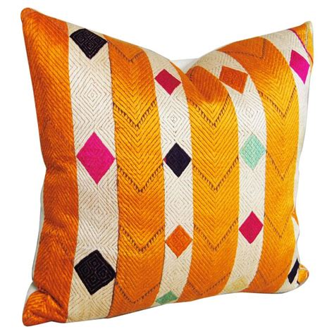 Customized Pillows India by Silk Embroidered Vintage Phulkari Bagh Custom Pillow