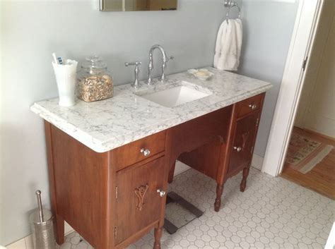 repurposed bathroom cabinet repurposed desk as bathroom vanity bungalow bath