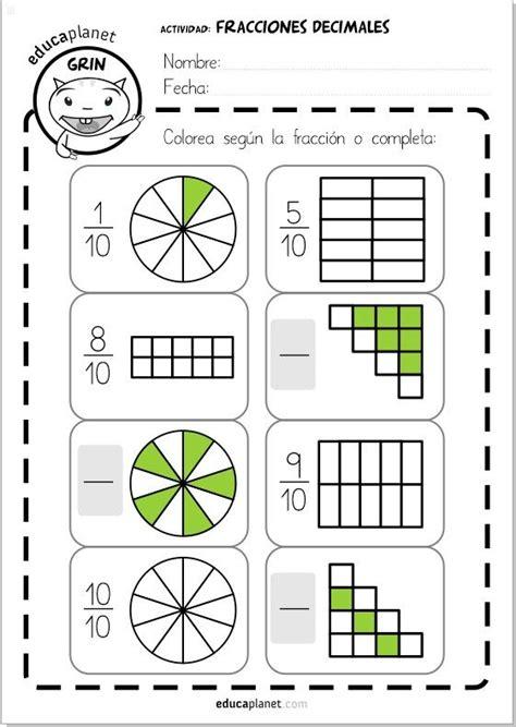 imagenes matematicas de fracciones fracciones decimales ejercicios primaria educaci 243 n