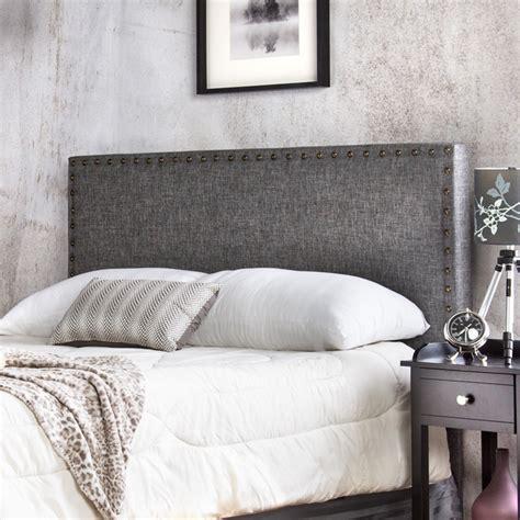 overstock upholstered headboard furniture of america adjustable nailhead trim flax