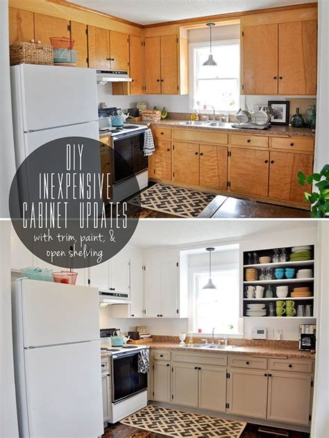 Updating Kitchen Cabinets With Paint Inexpensively Update Flat Front Cabinets By Adding Trim Paint And Semi Open Shelving