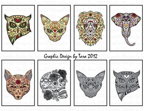 new day of the dead sugar skull animals by