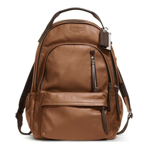 leather backpack coach thompson leather backpack in brown for lyst