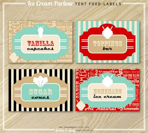 Ice Cream Party Buffet Food Labels Ice Cream Labels Buffet Label