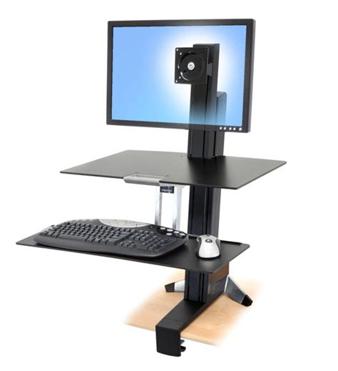Ergotron Sit Stand Desk Workfit S Single Hd Sit Stand Workstation With Worksurface By Ergotron Ergocanada Detailed