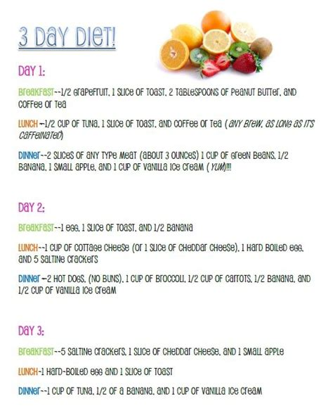 To lose up to 10 pounds in 3 days on the 3 day diet three day