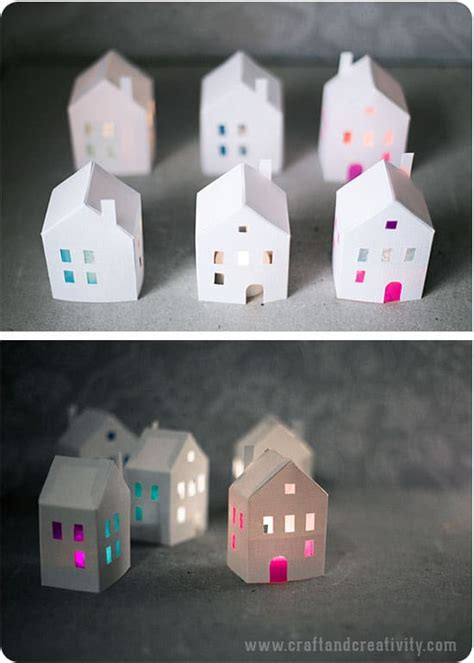 printable holiday paper houses
