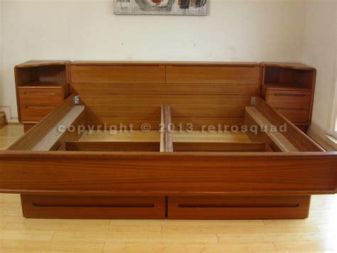 King Platform Storage Bed 12 Drawers by Modern Teak King Platform Bed 2 Storage Drawers