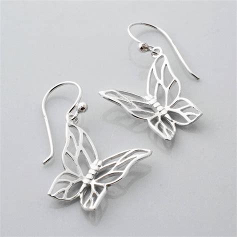 Butterfly Earring sterling silver butterfly drop earrings by martha jackson