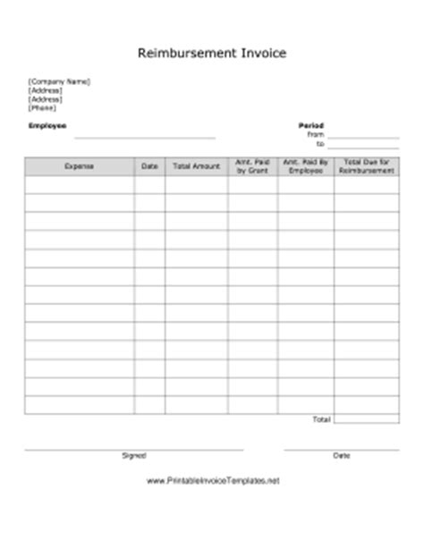 reimbursement invoice template reimbursement invoice template