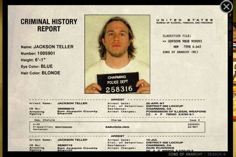 See Your Criminal Record Jax Teller Mugshot File From Soa Tv Shows Jax Teller And History