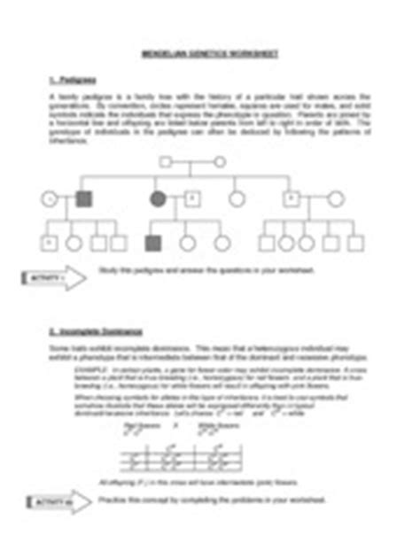 Non Mendelian Genetics Worksheet by Mendelian Genetics Worksheet Mendelian Genetics