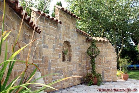 Mediterrane Gartenmauer riemchen caesar brun bilder