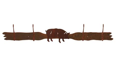 Pig Rack pig four hook metal wall coat rack