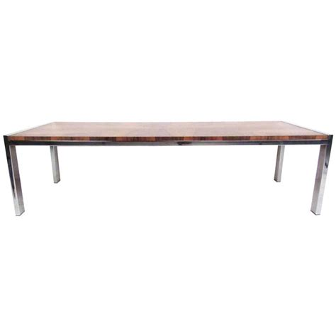 mid century modern chrome and rosewood coffee table for