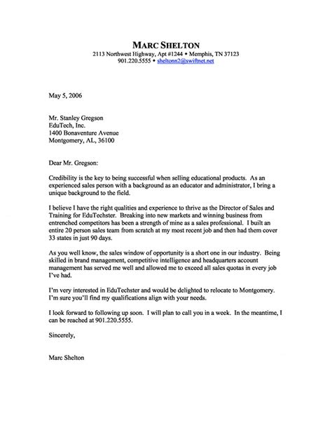 Free Sle Resume Cover Letter by Director Of Sales And Cover Letter
