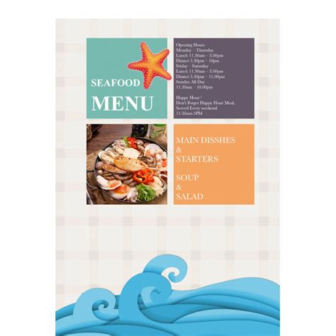 seafood menu templates menu templates sles menu maker publisher plus