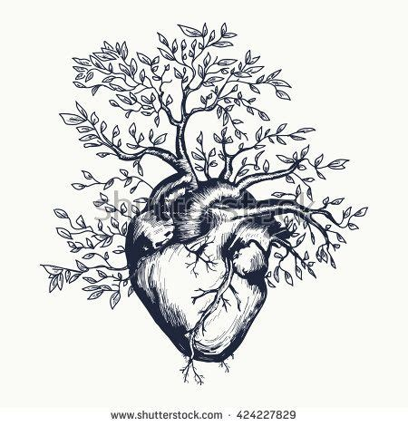heart tree tattoo design anatomical human from which the tree grows