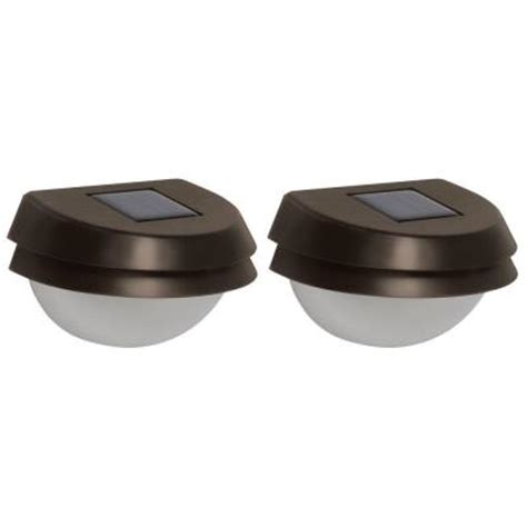 homedepot solar lights malibu led solar metal fence light 2 pack 8506 2402 02