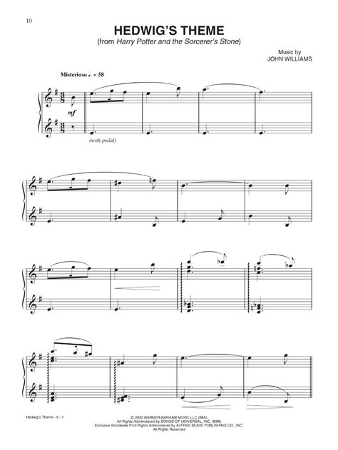 harry potter sheet music from the complete film j w
