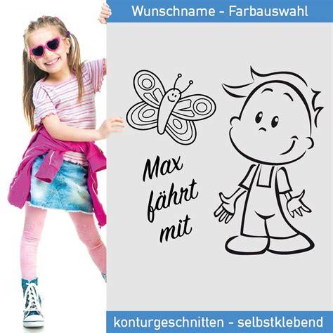 Aufkleber Namen Kind by Kinder Aufkleber Wunschname Mit S 252 223 Em Jungen Und Schmetterling