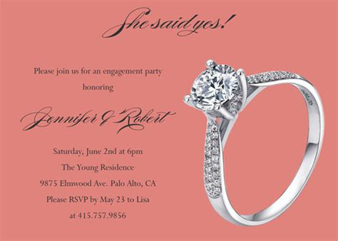 simple cheap coral ring engagement party invitation cards