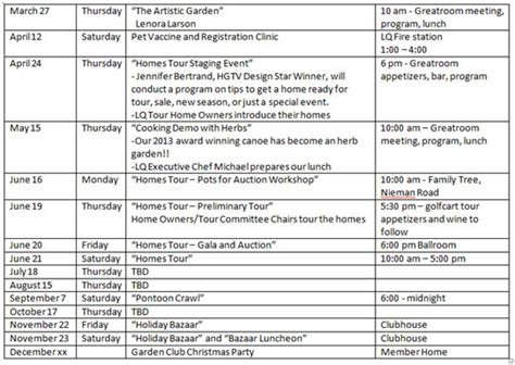 Patio Club Schedule by March 2014 The Quiviran
