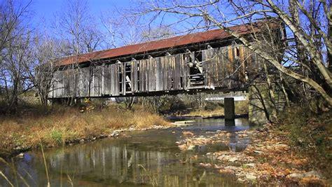 Cabins In Bridge Ky by Hillsboro Covered Bridge Kentucky Stock Footage