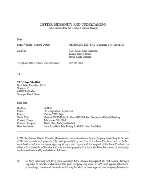 Title Insurance Indemnity Letter Letter Indemnity Letter Template