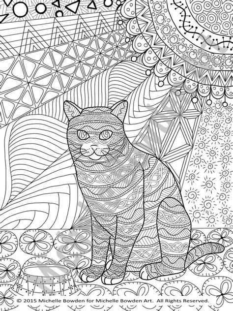 coloring page printable tabby cat zendoodle by