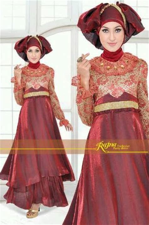 Gamis Pesta Rajna princess rajna maroon baju muslim gamis modern