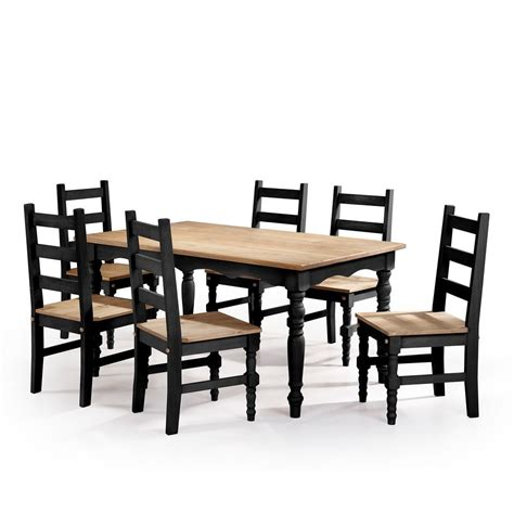 Black Dining Sets With 6 Chairs Manhattan Comfort 7 Black Wash Solid Wood Dining Set With 6 Chairs And 1 Table Csj307