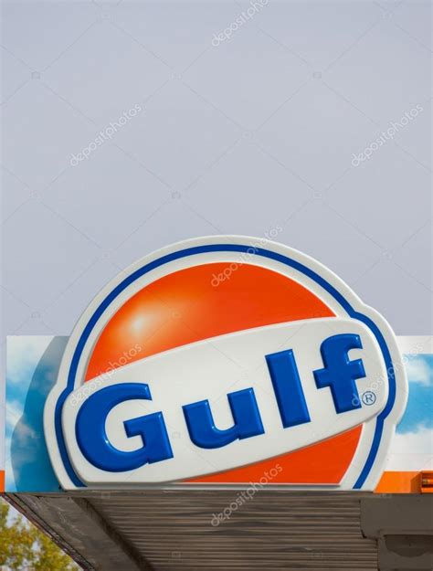 gulf oil logo gulf oil exterior sign and logo stock editorial photo