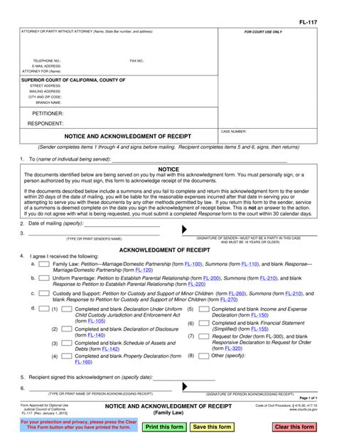 Spousal Support Receipt Template by Fl 117 Notice And Acknowledgment Of Receipt Pinkham