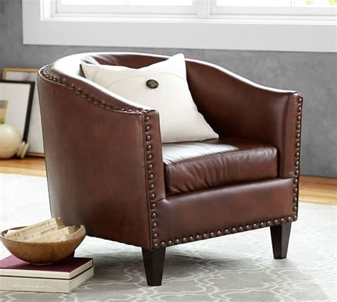 Leather Armchair by Harlow Leather Armchair Pottery Barn