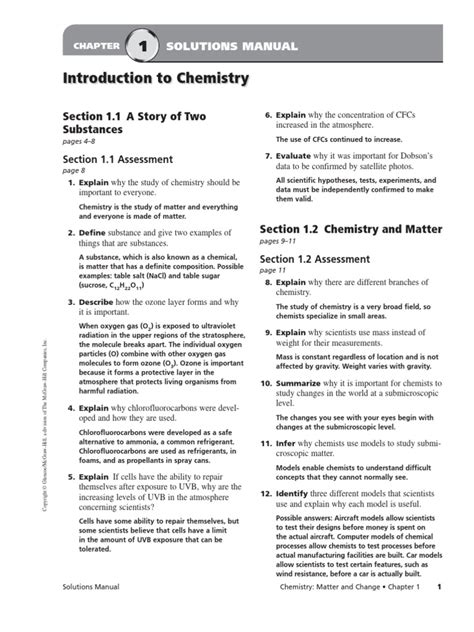 10 4 Changes Of State Section Review Answers by Chapter 01 And 02 Book Answers Density Chemistry