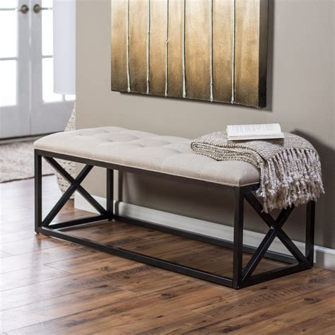 White Bedroom Bench Seat by Furniture Metal Indoor Bench Seat Using White Tufted