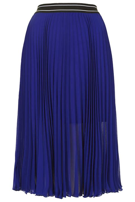 topshop pleated midi skirt midnight blue in blue
