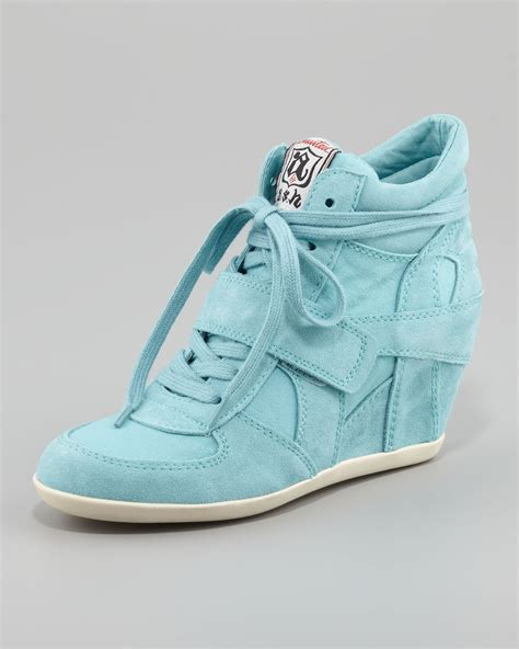 high heeled running shoes ash bowie suede canvas wedge sneaker in blue turquoise