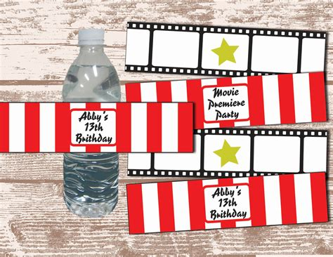 printable hollywood party decorations printable pdf hollywood movie party theme water bottle label