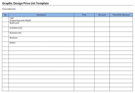 graphic design price list template free microsoft word