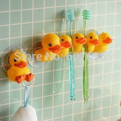 Free Shipping Cute Little Yellow Duck Toothbrush Holder 2 Yellow Duck Bathroom Accessories
