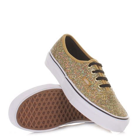 gold glitter shoes for womens vans authentic glitter gold micro dots