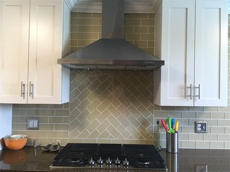 Glass Subway Tiles For Kitchen Backsplash Stunning Khaki Glass Subway Tile Chevron Pattern Above The