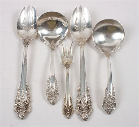 five wallace sterling silver serving pieces