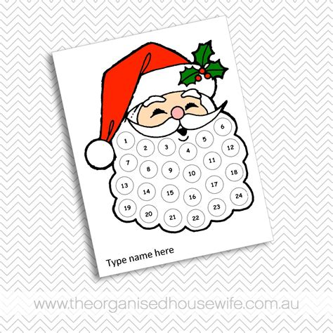 printable santa claus advent calendar santa s beard advent calendar the organised housewife shop