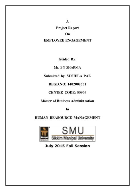 Mba Project Report On Employee Engagement by Project Employee Engagement