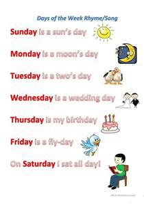 days of the week rhyme song worksheet free esl printable